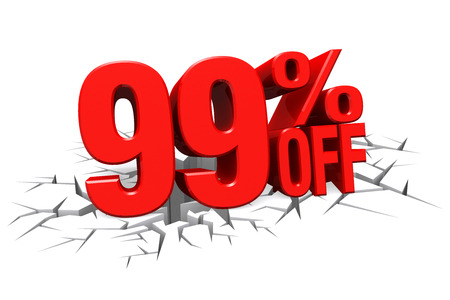 99: 3D render red text 99 percent off on white crack hole background with reflection.