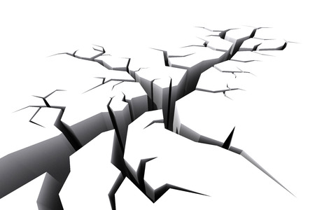cracked earth: White craked ground floor rendered in 3d. Stock Photo
