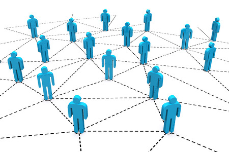 human relationship: Business human social network on white background.