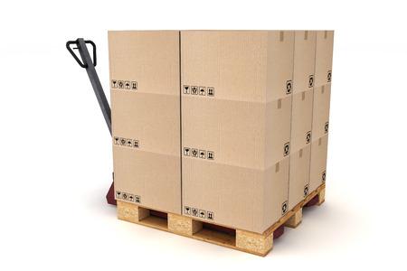 palet: Cajas de cart�n en la paleta y carretilla de mano. Cargo, entrega y transporte de almacenamiento log�stico. Foto de archivo