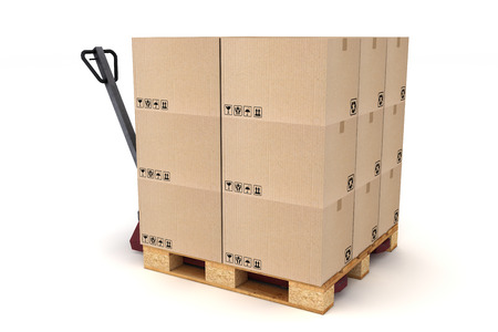Cardboard boxes on pallet and hand forklift. Cargo, delivery and transportation logistics storage. photo