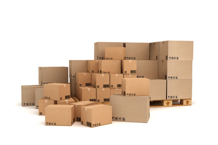 Cardboard boxes on pallet. Cargo, delivery and transportation logistics storage. photo