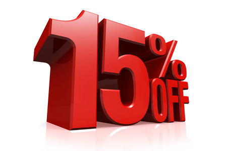 3D render red text 15 percent off on white background with reflection. Stockfoto