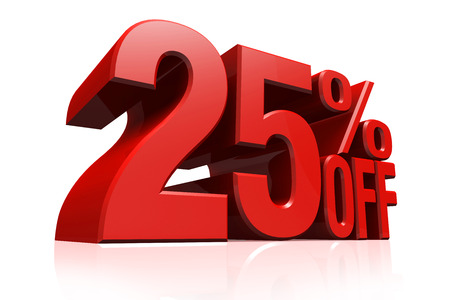 3D render red text 25 percent off on white background with reflection. photo