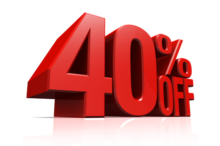 3D render red text 40 percent off on white background with reflection.