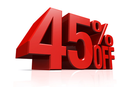 3D render red text 45 percent off on white background with reflection. photo
