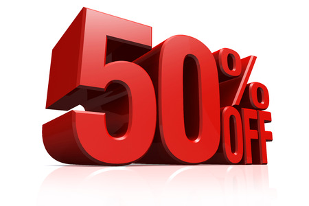 3D render red text 50 percent off on white background with reflection. Imagens
