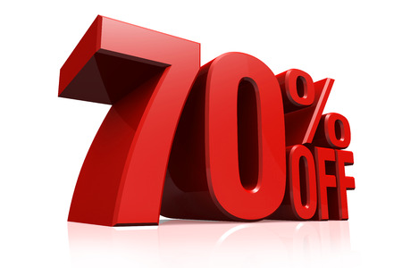 3D render red text 70 percent off on white background with reflection.