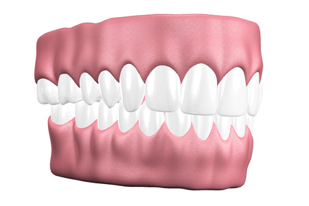 3D teeth close up on white background. photo