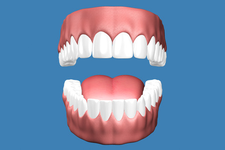 3D teeth close up on blue background.