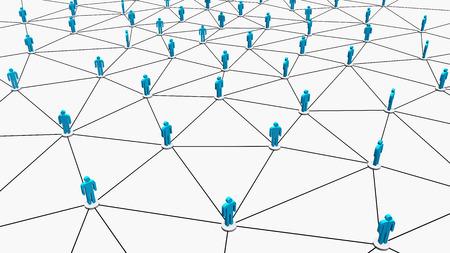 multilevel: Business human social network on white background