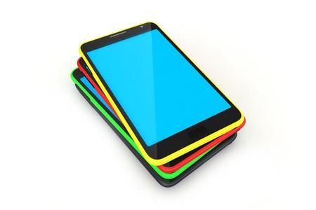 Digital device smart phone stack on white background  photo