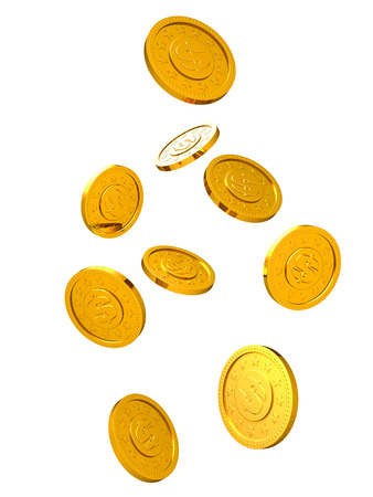 white gold: Falling golden coins isolated on white background. Stock Photo