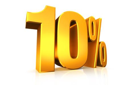 3D tekst in 10 procent in goud render op een witte achtergrond met reflectie Stockfoto