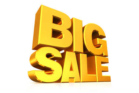 big sale: 3D gold text big sale on white background with reflection.