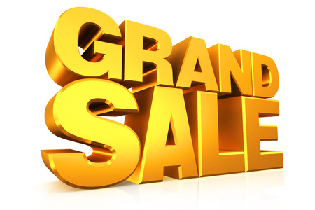 grand sale: 3D gold text grand sale on white background with reflection.