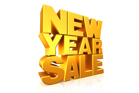 new message: 3D gold text new year sale on white background with reflection.