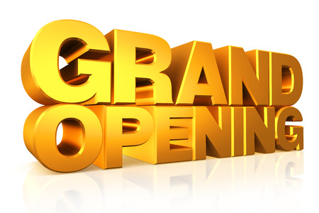 3D gold text grand opening on white background with reflection.