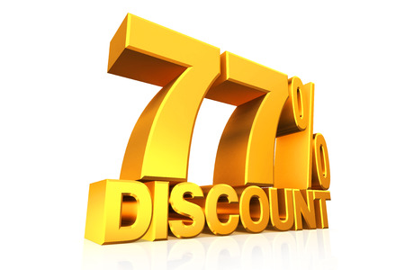 3D render gold text 77 percent discount on white background with reflection. photo