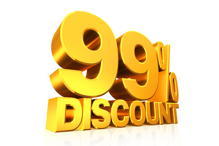 99: 3D render gold text 99 percent discount on white background with reflection. Stock Photo