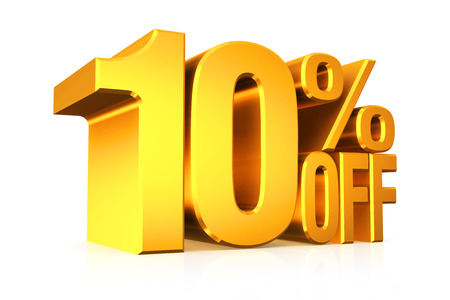 3D render gold text 10 percent off on white background with reflection.