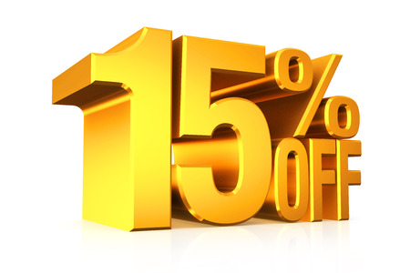 3D render gold text 15 percent off on white background with reflection.