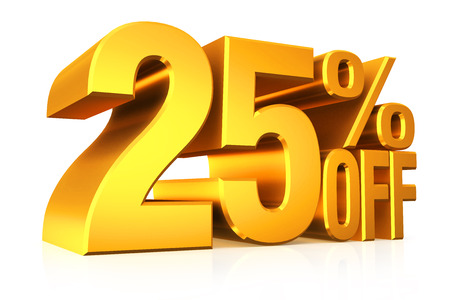 3D render gold text 25 percent off on white background with reflection. photo
