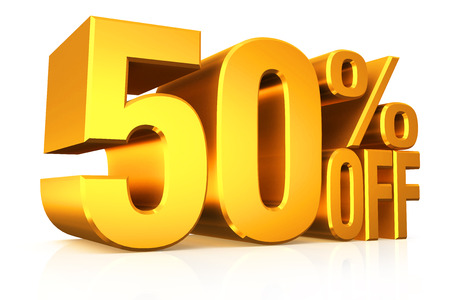 sale sign: 3D render gold text 50 percent off on white background with reflection.