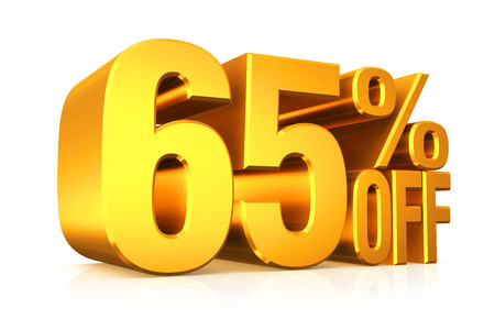 3D render gold text 65 percent off on white background with reflection. photo