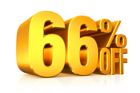 3D render gold text 66 percent off on white background with reflection. photo