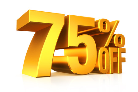 3D render gold text 75 percent off on white background with reflection.