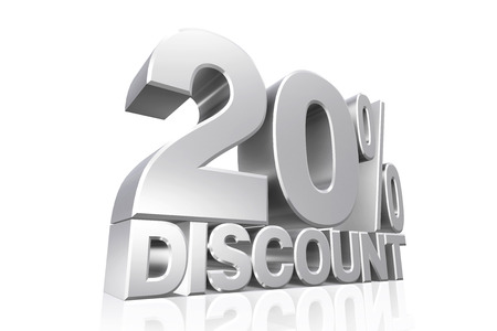 3D render silver text 20 percent discount on white background with reflection. photo