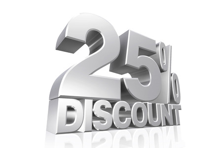 3D render silver text 25 percent discount on white background with reflection. photo