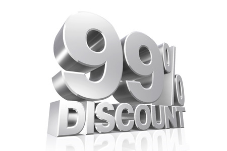 99: 3D render silver text 99 percent discount on white background with reflection. Stock Photo