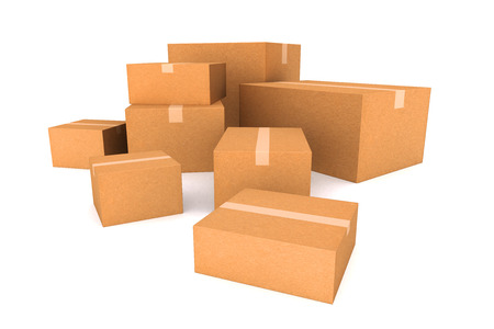 Cardboard boxes. Cargo, delivery and transportation logistics storage. photo