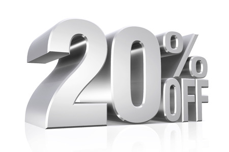 3D render silver text 20 percent off on white background with reflection. 스톡 콘텐츠
