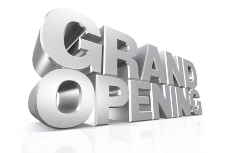 3D silver text grand opening on white background with reflection.