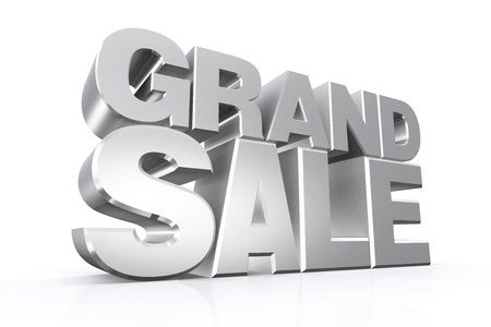 grand sale: 3D silver text grand sale on white background with reflection.