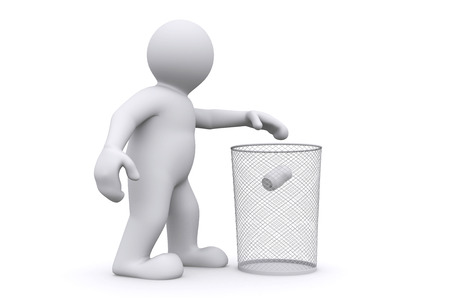 throwing: 3d white man throwing can in garbage, isolate on white with clipping path. Stock Photo