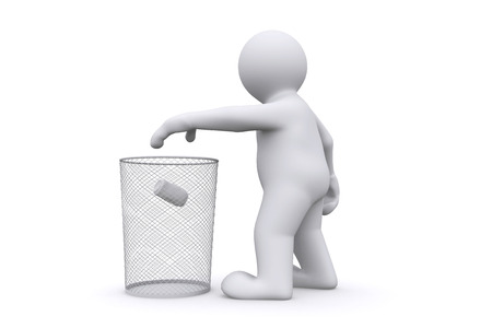 garbage man: 3d white man throwing can in garbage, isolate on white with clipping path. Stock Photo