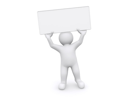 3d white man holding empty board on white background, with clipping path. photo