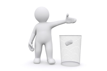 putting green: 3d white man throwing can in garbage, isolate on white with clipping path. Stock Photo
