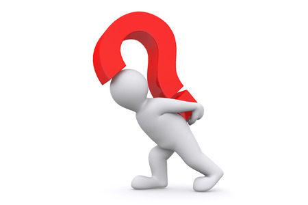 questionmark: White man with red question mark isolated on white with clipping path. Stock Photo