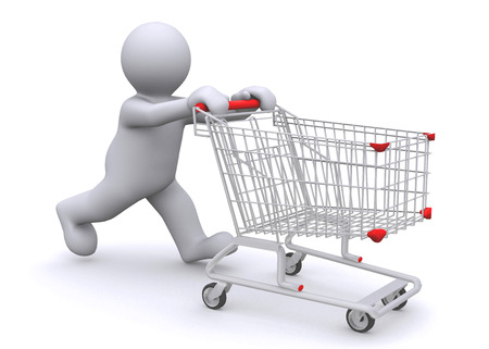 White with shopping cart isolated on white with clipping path.