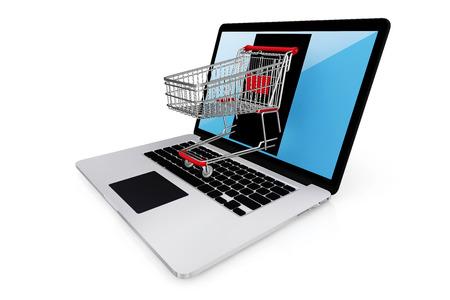 E-commerce internet winkelen het symbool van e-commerce met het knippen van weg online shopping concept.