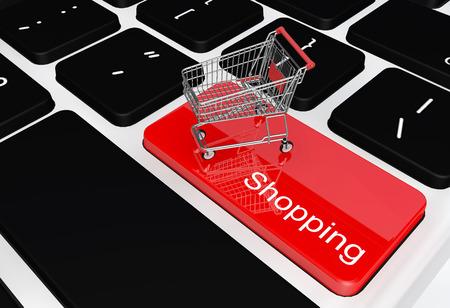 E-commerce internet winkelen het symbool van e-commerce online shopping concept. Stockfoto