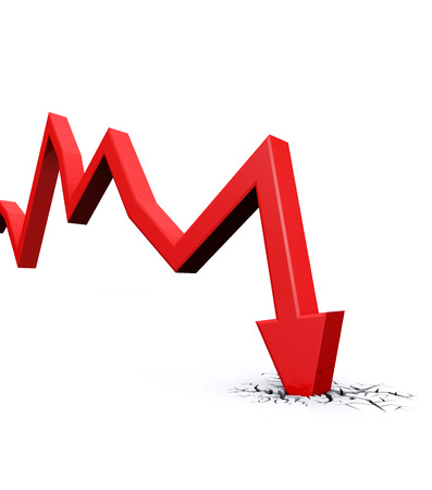 fall down: Economic Crisis. 3d red arrow graph falling and breaking in crack hole. Business fall.