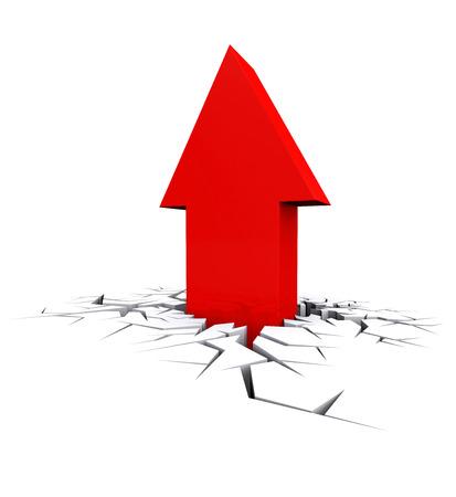 breaking out: Crisis Econ�mica. 3d flecha roja rompiendo agujero grieta. Ca�da de negocios.