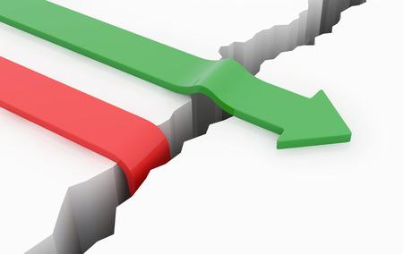 Groene pijl kruis over het gat rode pijl naar beneden vallen in het gat business concept.