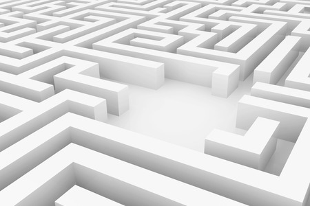 White maze complex way to find exit business concept.